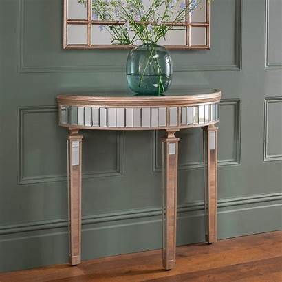 Half Moon Console Table Mirrored Marseille Homesdirect365