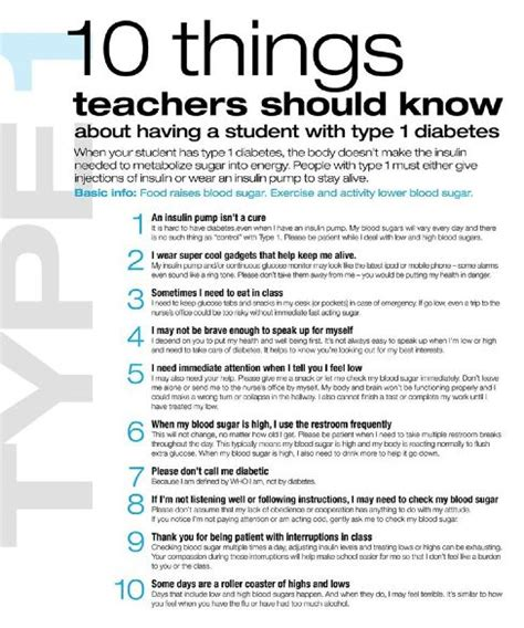 type 1 diabetics 10 things teachers should for my
