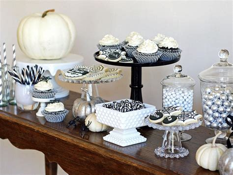 black and white party table centerpieces black and white treats table hgtv
