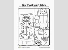 What Doesn't Belong Bedroom Coloring Page Educationcom