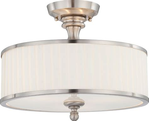 candice nickel drum shade semi flush ceiling light 15 quot wx12 quot h