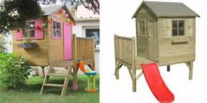 Maisonnette En Bois Sur Pilotis : maisonnette bois pilotis avec toboggan cabane enfants ~ Dailycaller-alerts.com Idées de Décoration