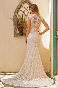 agnes cap sleeve lace wedding dress simple wedding With stretch lace wedding dress