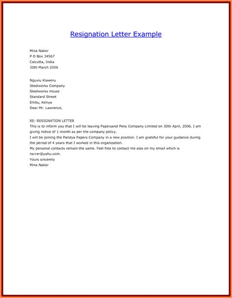 sample  resignation letter month notice notice letter
