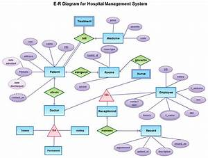 Hospital Management System Illustrated With Entity Relationship Diagram Template With Entities