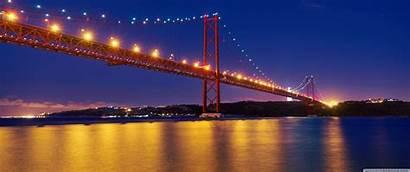 Portugal Lisbon Bridge River Night Tagus April