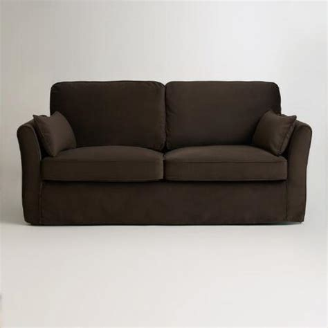 World Market Khaki Luxe Sofa by Chocolate Brown Velvet Fit Luxe Sofa Slipcover
