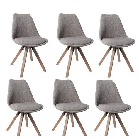 chaise tissu salle a manger lot de 6 chaises de salle à manger scandinave en tissu