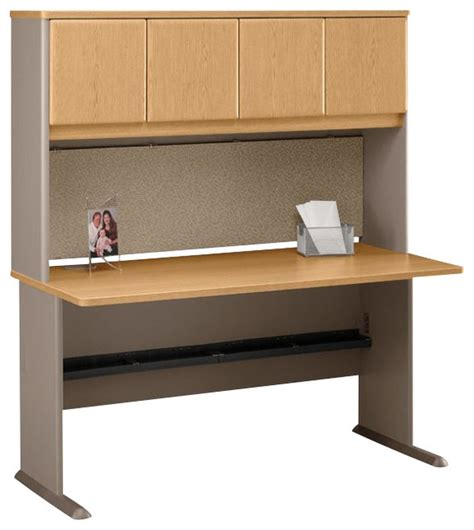 light oak computer desk bush series a 60 quot wood computer desk with hutch in light