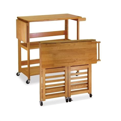 foldable butcher block kitchen cart in light oak 34137