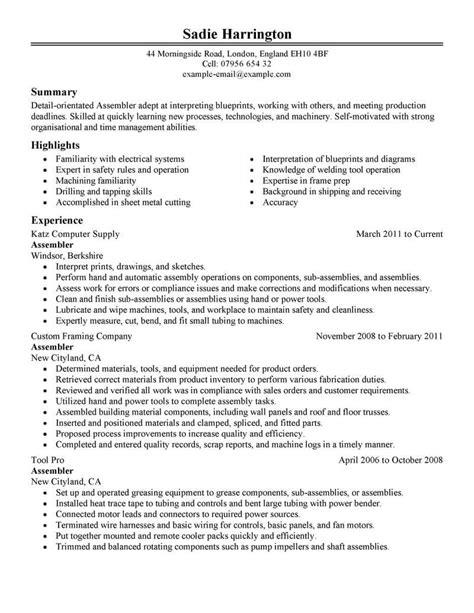 Production Resume by Best Assembler Resume Exle Livecareer