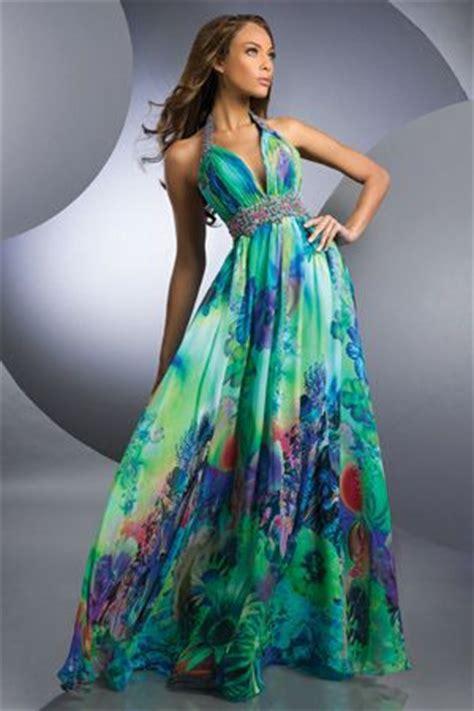 Tropical bridesmaids formal dresses | Shimmer 59215 Tropical Garden Print | Ryan u0026 Carliu0026#39;s ...