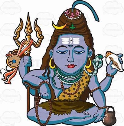 Shiva Hindu God Clipart Cartoon Deities Vector