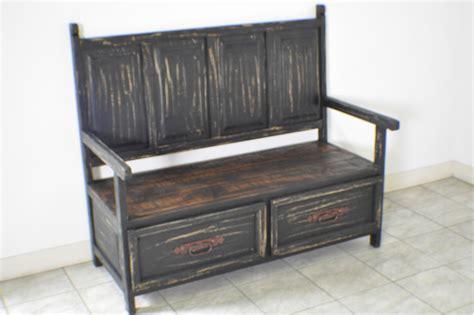 distressed storage bench black distressed rustic monasterio storage bench ebay