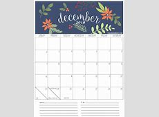 December 2018 Editable Calendar Download {Template