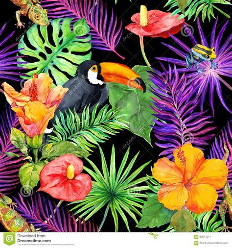 feuilles tropicales fleurs exotiques oiseau de toucan