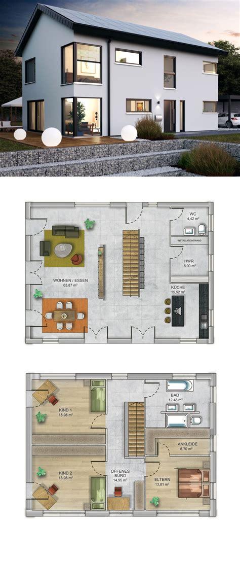 Haus Grundriss Modern by Einfamilienhaus Modern Mit Satteldach Fertighaus Massiv