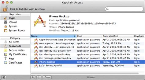 how to access keychain on iphone how to recover reset remove itunes backup password on mac os x