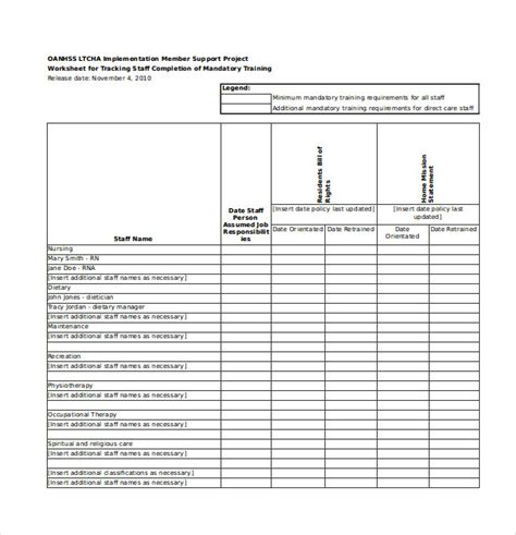 training module template exle employee training tracker excel spreadsheet