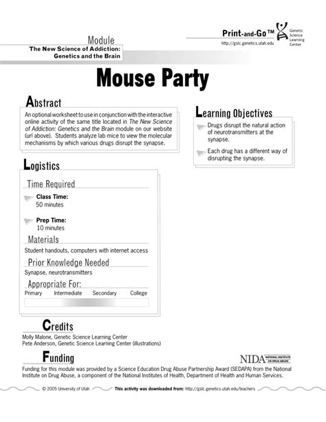 Mouse Party Worksheet Calleveryonedaveday