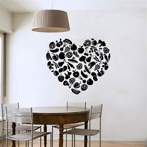 Heart shaped fruit and vegetable wall sticker diy