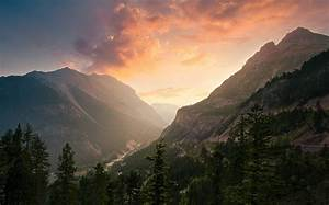 Nature, Landscape, Sunset, Mist, Mountain, Forest, Valley