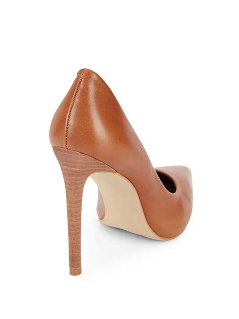 cognac colored heels lyst steve madden leather point toe pumps in brown