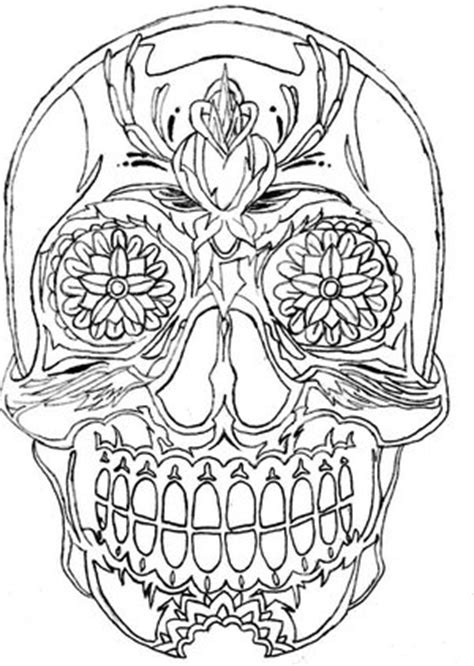 Mexican Skull Sleeve Outline-drawing Tattoo Designs