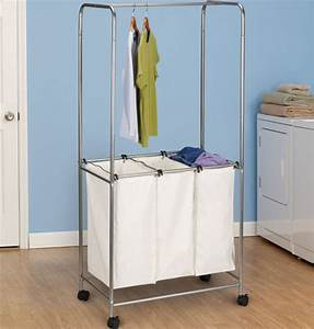 Rolling laundry center satin silver in laundry carts for Laundry room cart rolling