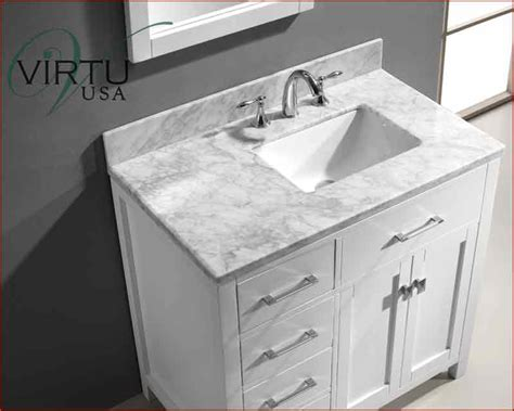 Carrara White Marble Stone Top Bathroom Off Center Sink