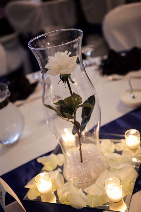 Hurricane Vase Centerpieces For Weddings by Single White Stem From Hobby Lobby 16in