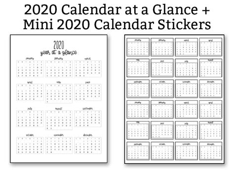 calendar   glance   mini calendar stickers