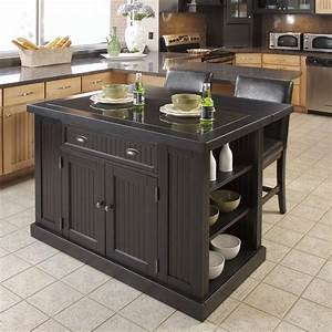 Black kitchen island with stools discount islands for Portable kitchen island table