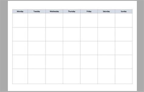 basic month grid view undated calendar  printable etsy