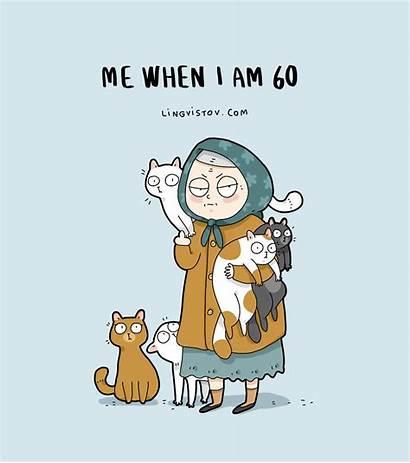 Cat Lingvistov Crazy Lady Funny Cats Cartoon