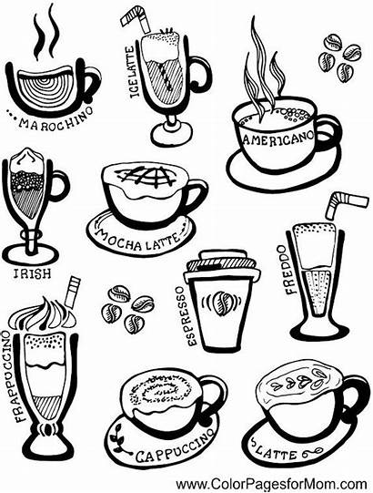 Coffee Coloring Pages Adult Cup Wine Adults