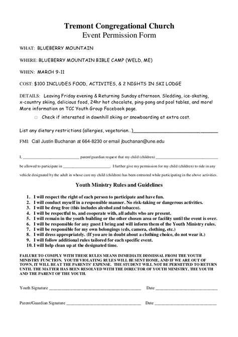 Blueberry mtn permission slip