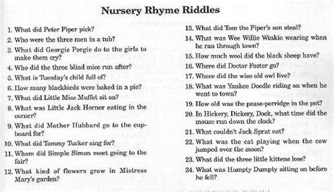 nursery rhyme riddles hollys baby shower pinterest