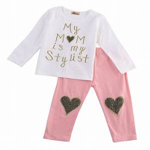 2017 baby girls clothing letter t shirtheart pants With the letter clothing