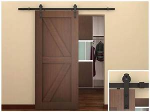 6 ft dark coffee antique style steel sliding barn wood for 3 foot barn door