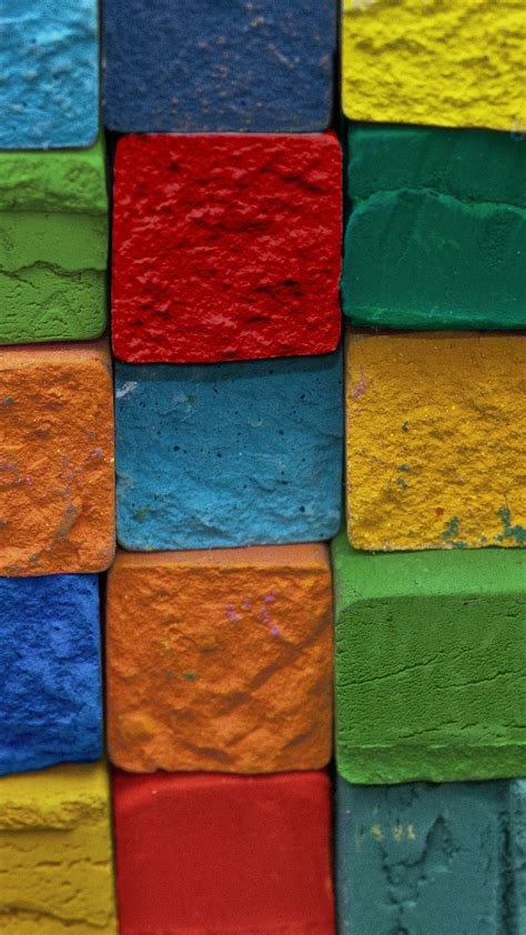 colorful brick wall green blue red android wallpaper