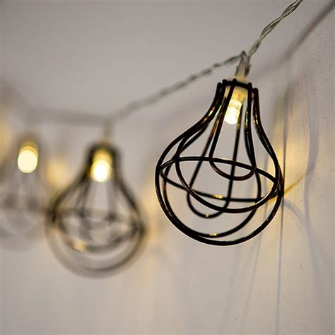 string of lights with light bulb wire cage battery led