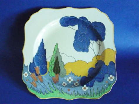 royal doulton arcady  cypress trees pattern art deco landscape rack plate   sold