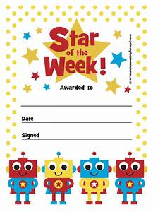 print your own certificate star of the week robot With star of the week certificate template