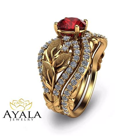unique bridal 14k yellow gold ruby engagement ring ebay
