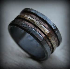 mens wedding band rustic fine silver 14k rose and yellow With manly mens wedding rings