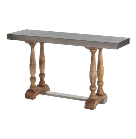 industrial metal console table winfred industrial steel reclaimed wood trestle console
