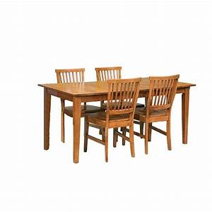 Home styles arts and crafts 5 piece cottage oak dining set for Arts and crafts dining room furniture