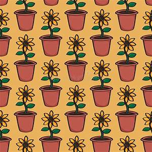 Seamless Cartoon Sunflower Background Stock Illustration ...