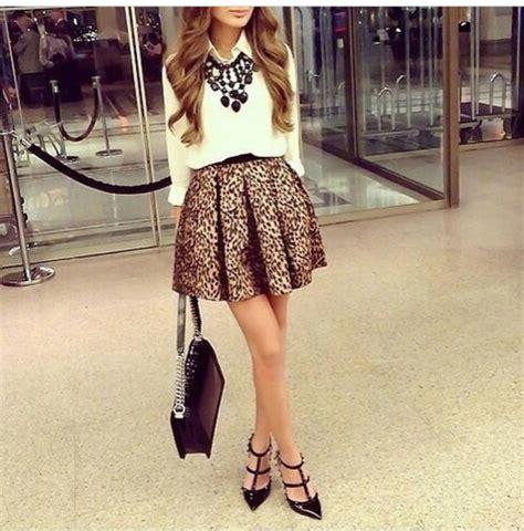 Skirt girly girl fashion style print blouse leopard print skater skirt - Wheretoget